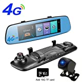 4G Car DVR Wifi Mirror Car Camera ADAS GPS Bluetooth Touch Screen Recorder 1296P FHD Front and 720P AHD Rear View Camera Android Dashcam with 16G TF Card (Color: Blue)