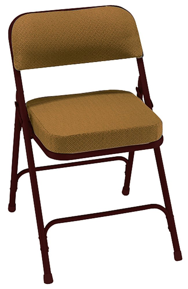 National Public Seating 3200 Series 2-Inch Thick Padded Folding Chair [Set of 2] Color: Gold/Mocha Brown Frame at Sears.com