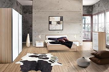 Camera da letto matrimoniale componibile completa color frassino e frontali laccato bianco lucido