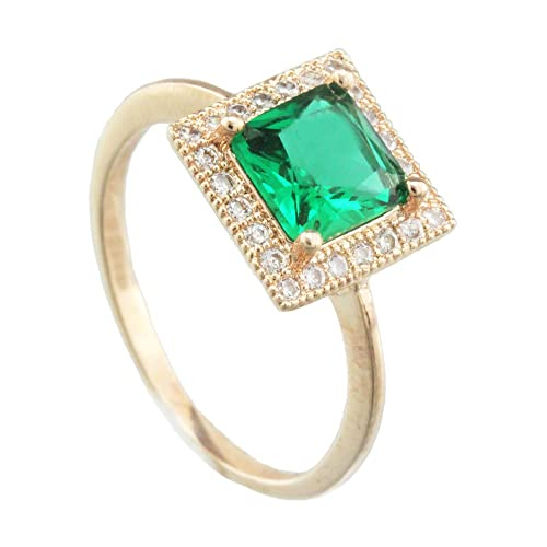 Classic Square Shaped Green Crystal With Micro Pave Clear Crystal Halo Ring