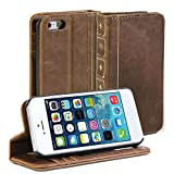 IPhone 5S case, GMYLE Book Case Vintage for iPhone 5C 5 5S - Brown Classic [Crazy Horse Pattern] [PU Leather] Book style Wallet Flip Slim Case Cover
