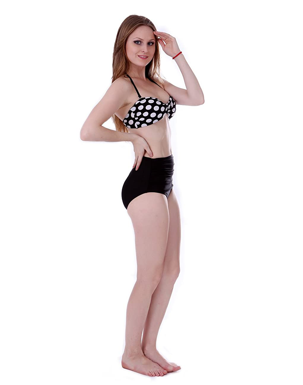 HDE Women Vintage 50s Pinup Girl Rockabilly High Waist Retro Bikini Swimsuit Set 5