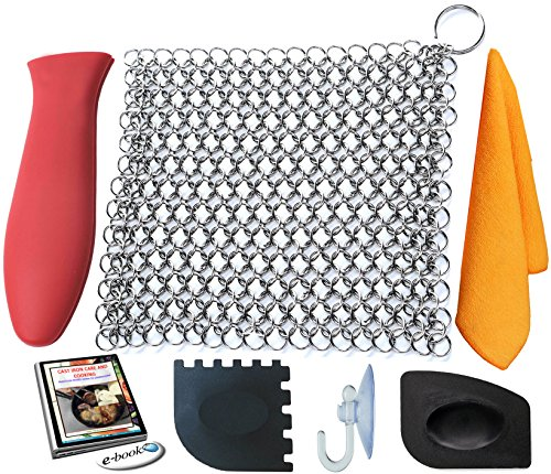 KitCast (6 in One + e Book)- Cast Iron Cleaner XL 8x6 Premium Stainless Steel Chainmail Scrubber With Bonus Iron Skillet Handle Holder + Pan Scraper + Grill Scraper + Kitchen Towel + Drying Hook (Wok Fire Ring compare prices)