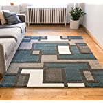 "Uptown Squares Blue & Grey Modern Geometric Comfy Casual Hand Carved Area Rug 5x7 ( 5'3"" x 7'3"" ) Easy to Clean Stain Fade Resistant Abstract Boxes Contemporary Thick Soft Plush Living Dining Room"