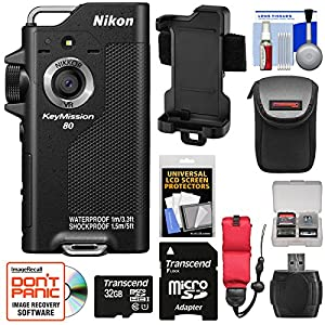 Nikon KeyMission 80 Wi-Fi Shock & Waterproof Digital Camera with 32GB Card + Case + Floating Strap + Reader + Kit