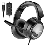 BENGOO N12 Gaming Headset for PS4, PC, 7.1 Surround Sound Over Ear Headphones with Noise Cancelling Mic, On-Line Volume/MIC Control, Soft Memory Earmuffs, USB Stereo Computer Headset for Mac Laptop (Color: Grey)