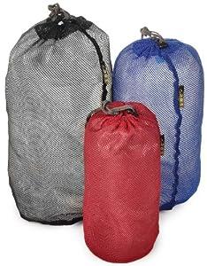 Sandpiper of California Organizational Quick Pack Mesh Stuffer-Set of 3 (Blk/Blu/Red, 6.5x15.5x7.5-Inch)