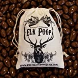 Chocolate Elk Poop (Milk Chocolate Covered Almonds) in Vintage Cotton Reindeer Poop Bag - 6 ounces