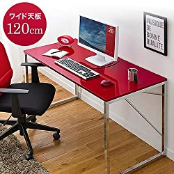 サンワダイレクト ワークデスク デザイン 高い質感のおしゃれな パソコンデスク W1200 レッド 100-DESK039R