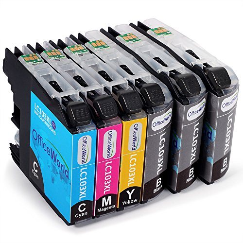 Office World 6 Packs Brother LC103XL Ink Cartridges for Brother MFC-J4310DW MFC-J4410DW MFC-J4510DW MFC-J4610DW MFC-J4710 MFC-J470DW MFC-J475DW
