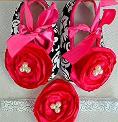 Pikaboo Newborn Baby Headband Baby Shoes Combo - Rose In Black