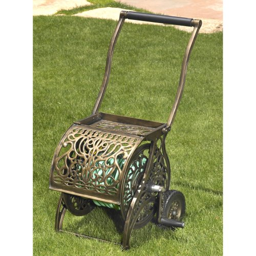 Liberty Garden Products Decorative Non Rust Cast Aluminum 2 Wheeled Garden  Hose Reel Cart With 200 Foot Capacity   Pantina Finish #805