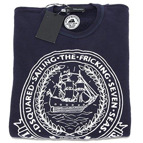 93745 felpa blu DSQUARED D2 maglia uomo sweatshirt men [XXL]