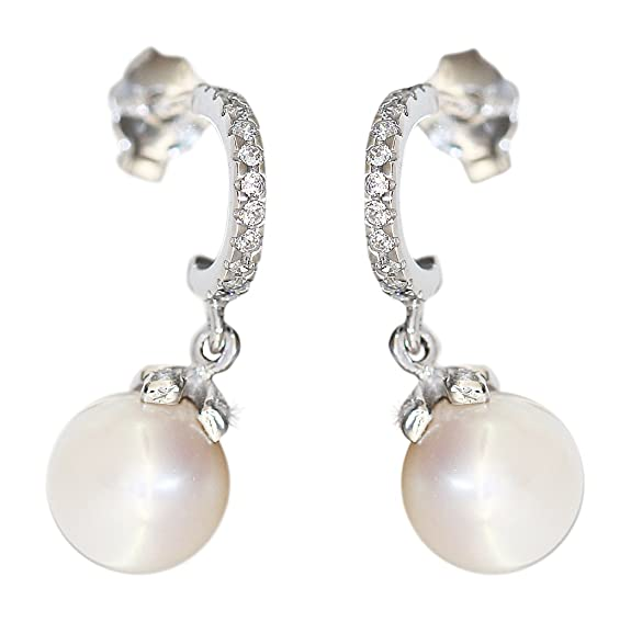 Hobra Stud Earrings 585 White Gold with Pearl and Cubic Zirconia Stud Earrings