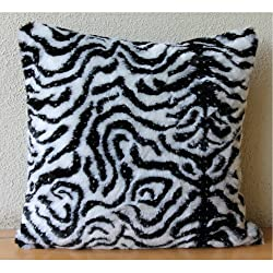 Zebra Stripes - Decorative Pillow Covers - Faux Fur with Zebra Stripes