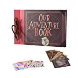 Travel Scrapbook DIY Photo Album - Our Adventure Book String Binding Self Stick 80 Page Vintage Family Album Notebook with Kits Accessories (New Style) (Color: New style)