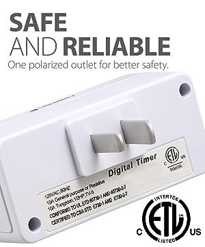 Fosmon 24 Hour Programmable Digital Timer Outlet (2 Pack), ON/OFF Program, LCD Display, Mini Indoor Single Plug-In Outlet Timer, 125V 15A for Seasonal Light, Lamp, Heater, Portable Fan, Aquarium