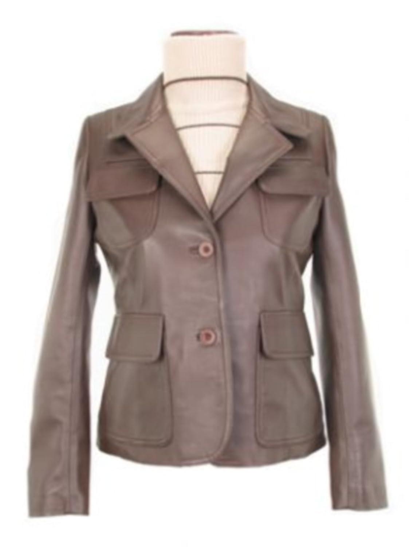 Alpacaandmore Klassische braune Lamm Nappa Leder Damen Lederjacke handgenäht mit Reverskragen günstig