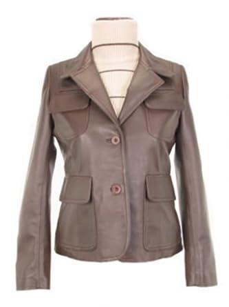 Alpacaandmore Klassische braune Lamm Nappa Leder Damen Lederjacke handgenäht mit Reverskragen