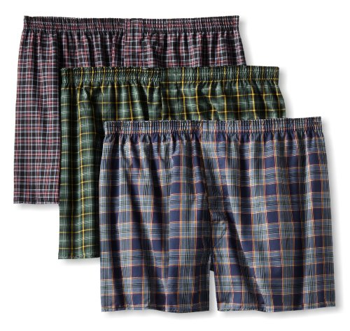 61AMfe9D3 L Buy Fruit of the Loom Mens Big 3 Pack Tartan Woven Boxer, Assorted, XX Large Reviews