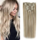Sunny Clip in Hair Extensions Human Hair 14 Inch Ash Blonde Highlights with Golden Blonde Full Head Remy Hair Straight Clip in Human Hair 120g Per Pack (Color: #16/22, Tamaño: 14 Inch)