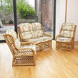 Home & Garden Direct Cadiz Natural Conservatory Suite 2 Seater Sofa 2 Chairs Choice of Colours from Home & Garden Direct