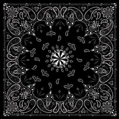 Black Paisley 100% Cotton Bandanna
