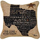 Manual Americana Collection Throw Pillow with Piping, 17 X 17-Inch, USA Texas from Pela Studios