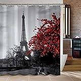BBFhome ourlet lesté imperméable GRE et Paris Eiffel bain tour personnalisé rideau de douche - paysage urbain fleur rouge idées polyester bain de tissu à rideaux 180x180 cm...