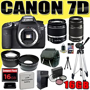 Canon EOS 7D 18 MP CMOS Digital SLR Camera w/ Canon EF-S 18-55mm f/3.5-5.6 IS Lens & Canon EF-S 55-250mm f/4.0-5.6 IS Telephoto Zoom Lens LPE6 Battery/Charger Wide Angle / Telephoto Lenses Filter Kit 16GB Tripod DavisMAX IS Bundle