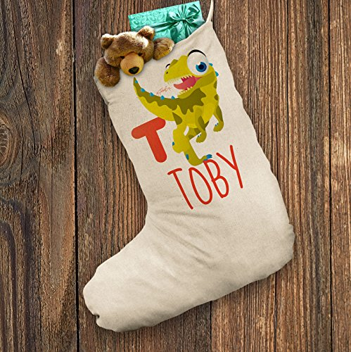 [Personalised Santa Stocking White Baby Dinosaur Letter T X-Large - Approx 28cm x 57cm] (Animals That Start With The Letter T)