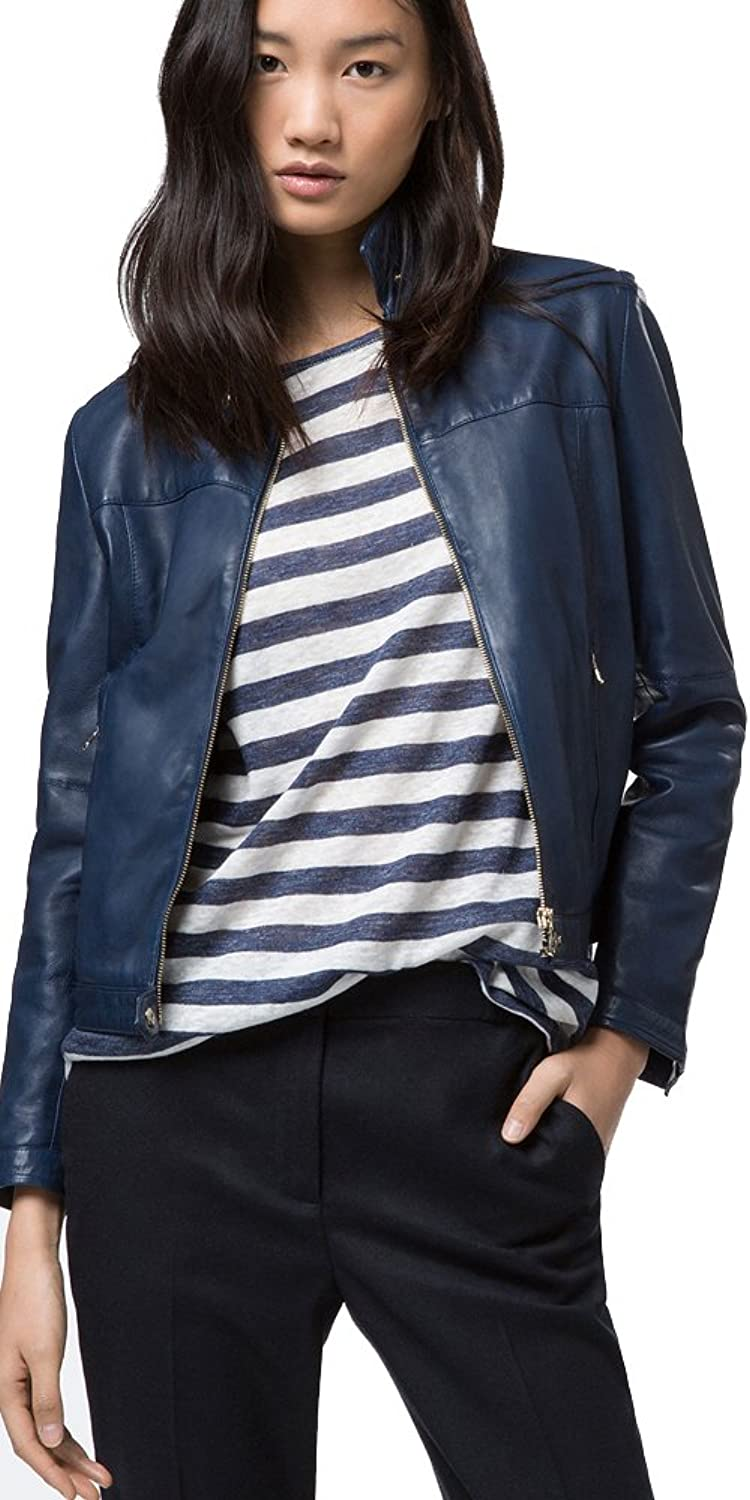 цена Massimo Dutti (Zara Group) Women´s Genuine Leather Blue Pockets Jacket 4706/562 онлайн в 2017 году