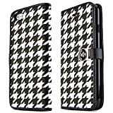 iPhone 6/6S Case, [Black/White Houndstooth] Flip Wallet Case with ID Slots, Stand Feature, and Magnetic Flap Closure for Apple iPhone 6/6S