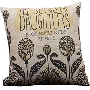 Decorative Throw Pillows With Words : Amazon.com: Italian Style Daisy Words Throw Pillow Case Decor Cushion Covers Square 18*18 Inch ...