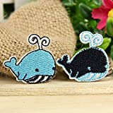 Mini Whales Set of 2 Iron on Sew on Embroidered Badge Applique Motif Patch From PatchWOW