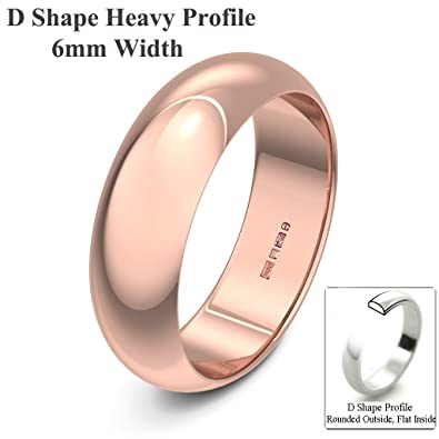 Xzara Jewellery - 9ct Rose 6mm Extra Heavy D Shape Hallmarked Ladies/Gents 6.0 Grams Wedding Ring Band