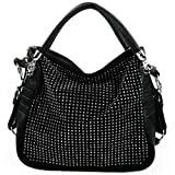 BENOITE Rhinestones Embellished Soft Leatherette Hobo Satchel Handbag Purse Convertible Shoulder Tote Bag
