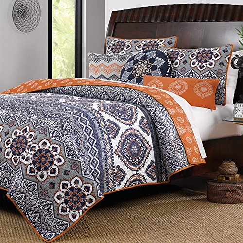 Boho Chic Moroccan Paisley Pattern Grey Orange Cotton 3 Piece Full/Queen Size Quilt Bedding Set (Moroccan Bedding Full compare prices)