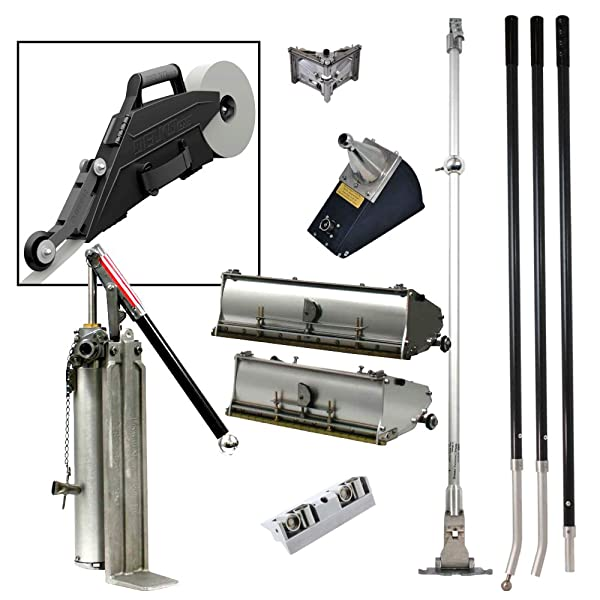 Drywall Master Professional Finishing Tool Set Plus FREE Delko ZUNDER Banjo Taper - 10 & 12 Flat Boxes, Angle Box, Angle Head, Corner Roller, Pump & Handles
