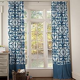 Carousel Designs Indigo Blue Shibori Drape Panel 64-Inch Length Standard Lining 42-Inch Width