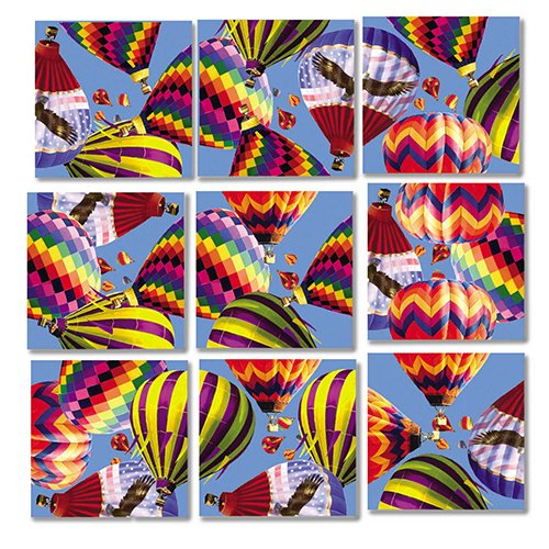 B Dazzle Hot Air Balloons Scramble Squares 9 Piece Puzzle