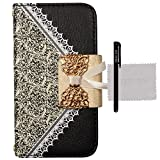 xhorizon TM Bow Lace Fashion Wallet Flip Feature with Credit ID Card Slots Holder Strap PU Leather Bling Case Cover For iPhone 4/4s/5/5s Samsung Galaxy S3/S4/S5 S3 min i8190 Note 3 N9000