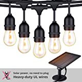 Foxlux Solar String Lights - 48FT LED Outdoor String Light - Shatterproof, Waterproof Pergola Lights - 15 Hanging Sockets, Light Sensor, S14 Edison Bulbs - Ambience for Patio, Backyard, Garden, Bistro