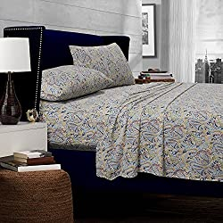 Tribeca Living 300 Thread Count Fiji Paisley Printed Egyptian Cotton Deep Pocket Sheet Set, Queen, Multicolor