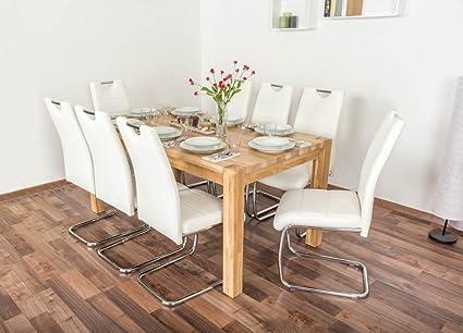 Wooden Nature Esstisch-Set 168 inkl. 8 Stuhle (weiß), Eiche Massivholz - 160 x 90 (L x B)