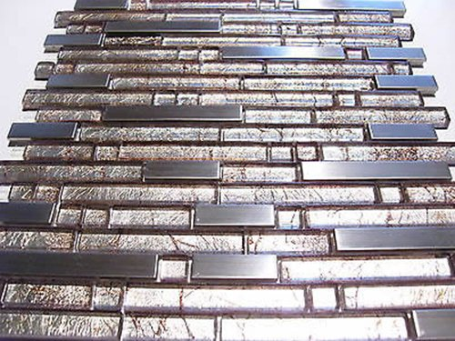 FLIESENTOPSHOP Glasmosaik Edelstahlmosaik Mosaik Metall Metalleffekt Fliese silber Dusche top