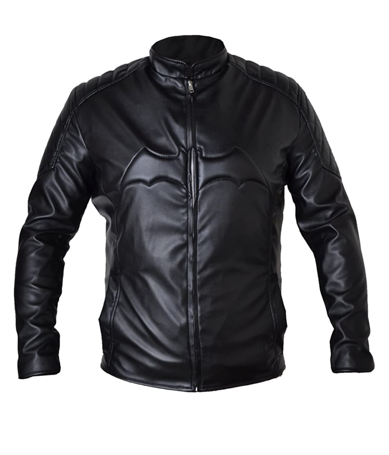 Dark Knight Batman Full Black bale Real Sheep Leather Leather Jacket With Bat Logo on Chest