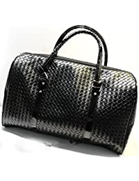 Knitting Pattern Black Leather Large Travel Bag Men Women Luggage Travel Bags Duffle Bag Maletas De Viaje Sac De Voyage