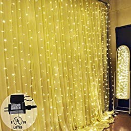 Ucharge 30V 300 LED Curtain Icicle Lights, 9.8 Feet - Yellow