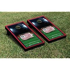 New England Revolution Revs NERSC Cornhole Game Set Soccer Field Version 1 by Gameday Cornhole